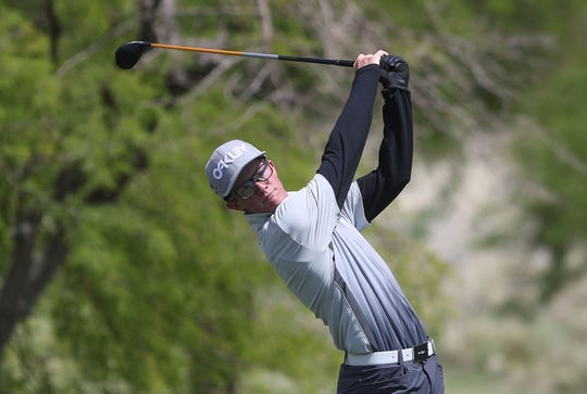 Ryln Hadley of Palm Desert tees off on the first hole of the Desert Empire League boys golf individual prelims at the Gary Player Signature Course, Westin Mission Hills Resort in Rancho Mirage, May 1, 2019.