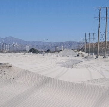 Indian Canyon Drive again closed due to blowing sand. Gene Autry work starts Wednesday