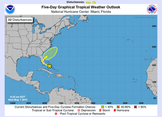 The National Hurricane Center gives a tropical disturbance a 20 percent chance of formation over the next five days.
