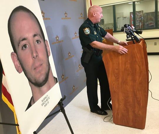 Santa Rosa County Sheriff Bob Johnson holds a press conference Wednesday about a shooting and stabbing the previous day in Midway.
