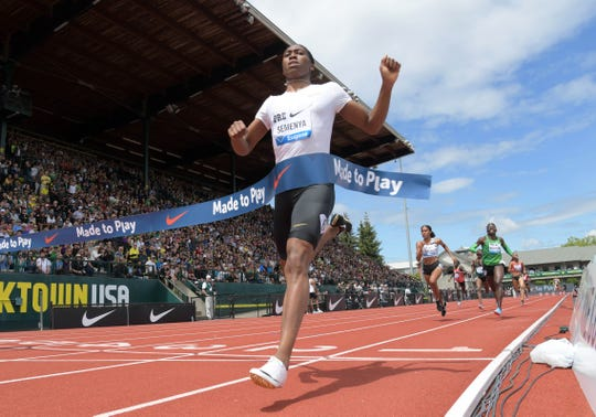 Caster Semenya of South Africa celebrates after winning the women's 800 meter with a meet record 1:55.92 during the 44th Prefontaine Classic in an IAAF Diamond League meet at Hayward  Field.