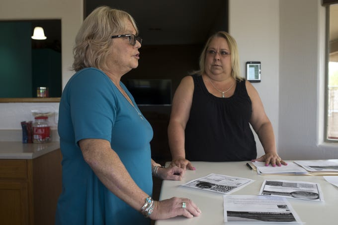 Mary Gevarter (left) and Camille Williams talk about New River incorporating, April 23, 2019, in the kitchen of Mary's New River home.
