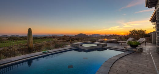 The $3.15M Scottsdale home purchased by William and Mari Orke has mountain and golf course views.