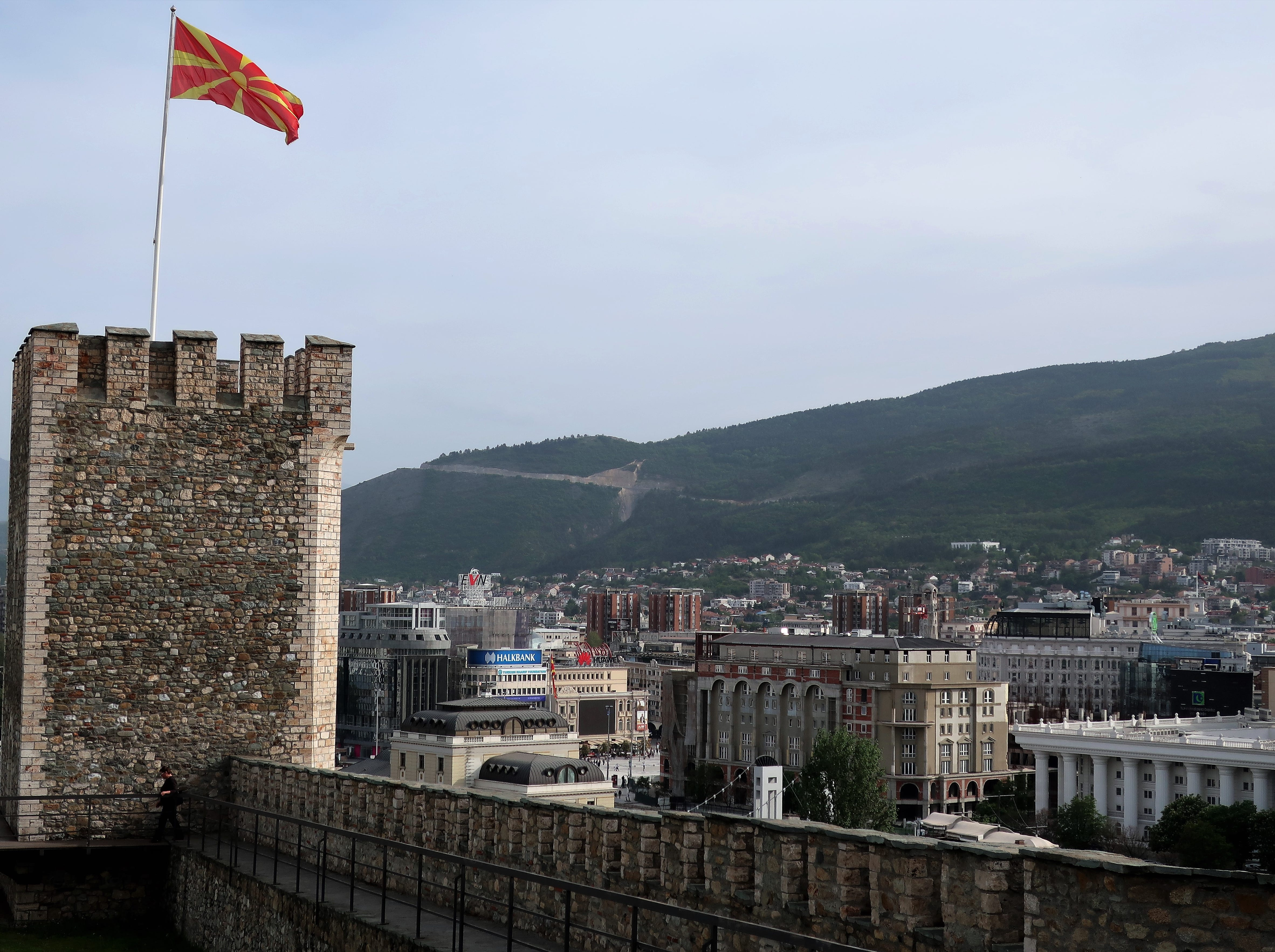 The view of Skopje, North Macedonia's capital city, from the sixth-century Skopje Fortress.