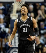 Nevada's Jordan Brown against New Mexico State on Feb. 9, 2019. Brown intends to transfer and Arizona State is one of the programs he is considering.