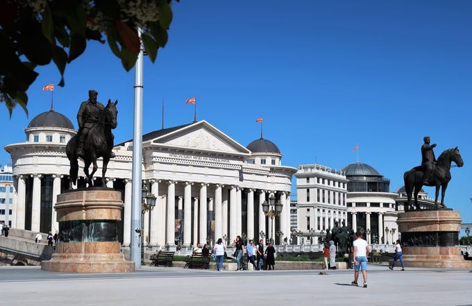The main square in Skopje, the capital of North Macedonia and the sister city of Tempe, Arizona.