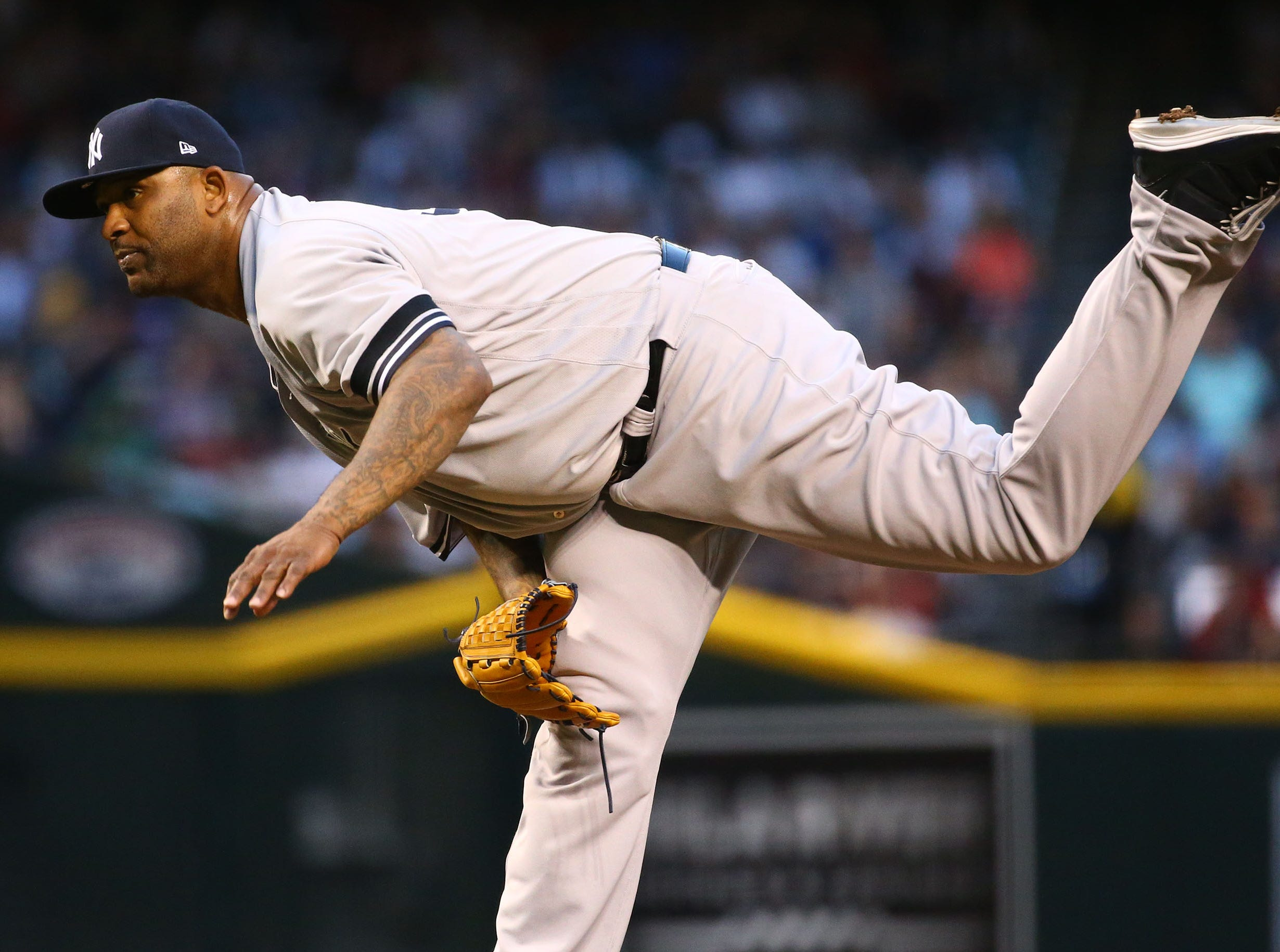 New York Yankees pitcher CC Sabathia throws to the Arizona Diamondbacks in the first inning on Apr. 30, 2019 at Chase Field in Phoenix, Ariz.
