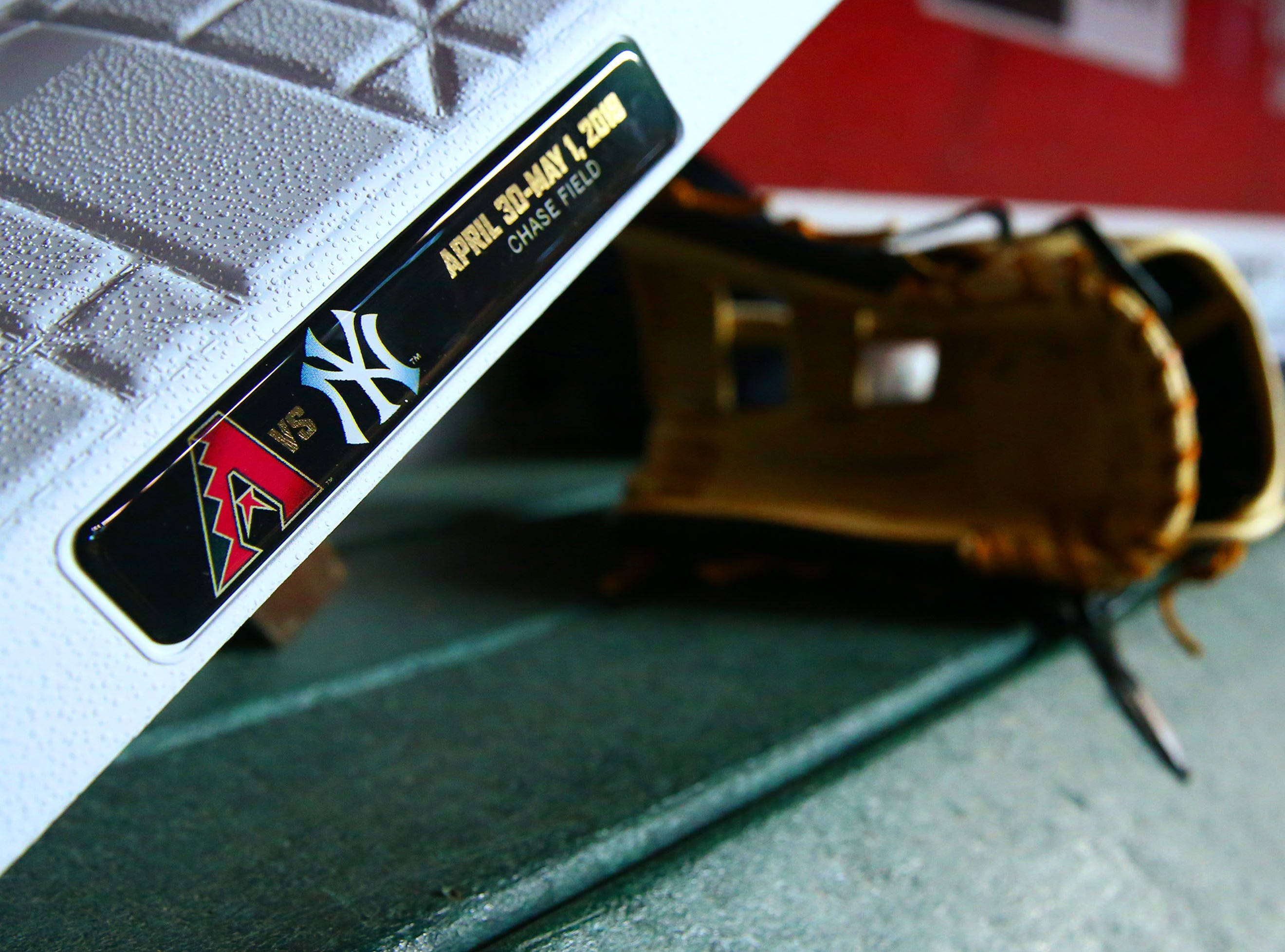 Special labeled bases for the game as Arizona Diamondbacks host the New York Yankees on Apr. 30, 2019 at Chase Field in Phoenix, Ariz.