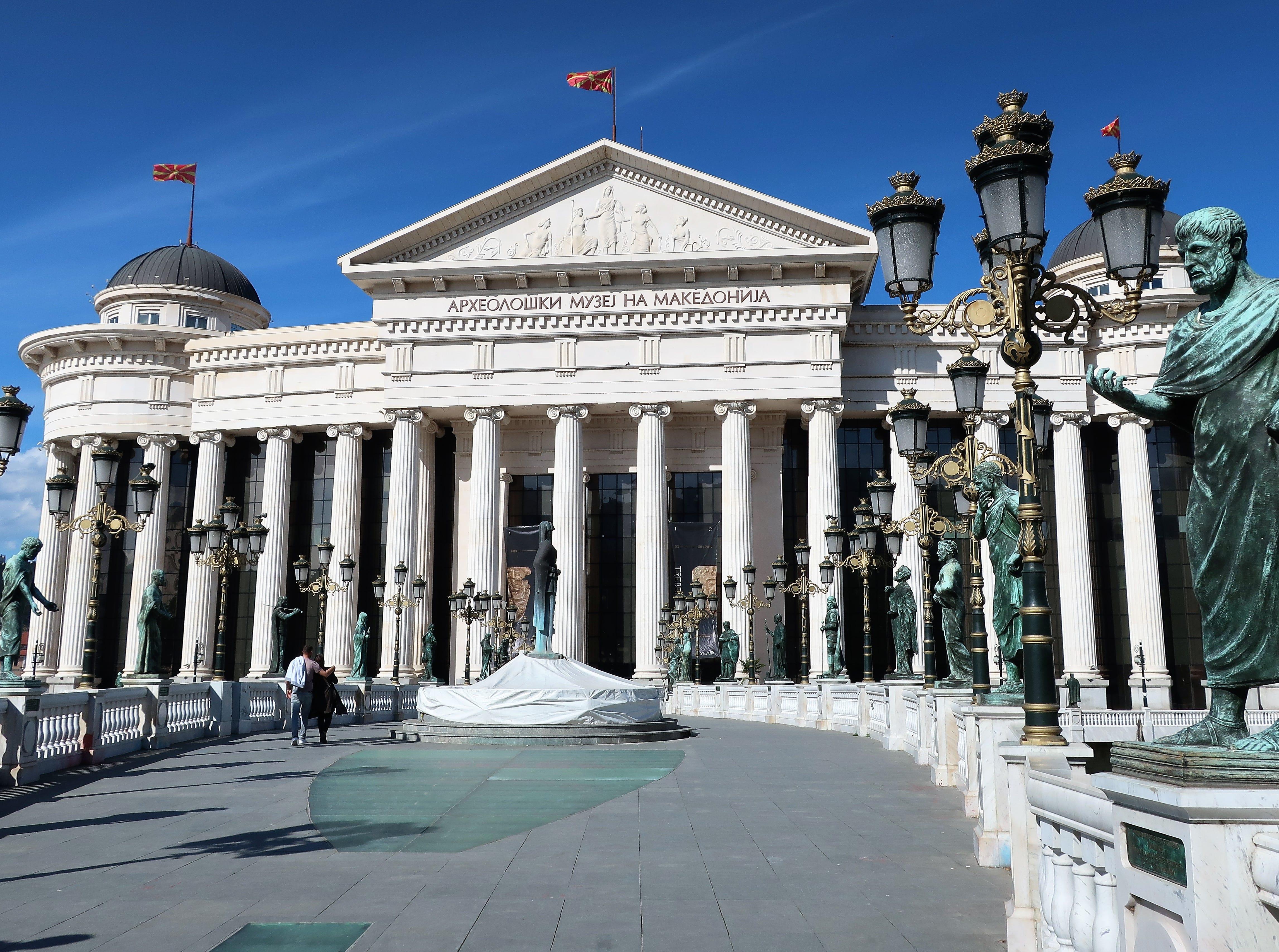 Some 31 statues line the Bridge of Civilizations in downtown Skopje, North Macedonia.