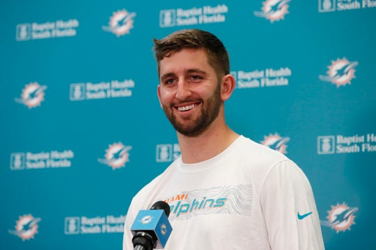 Miami Dolphins NFL football quarterback Josh Rosen speaks during a news conference, Monday, April 29, 2019, at the Dolphins training facility in Davie, Fla. The Dolphins traded a 2019 second-round draft pick and a 2020 fifth-round selection to Arizona for Rosen.