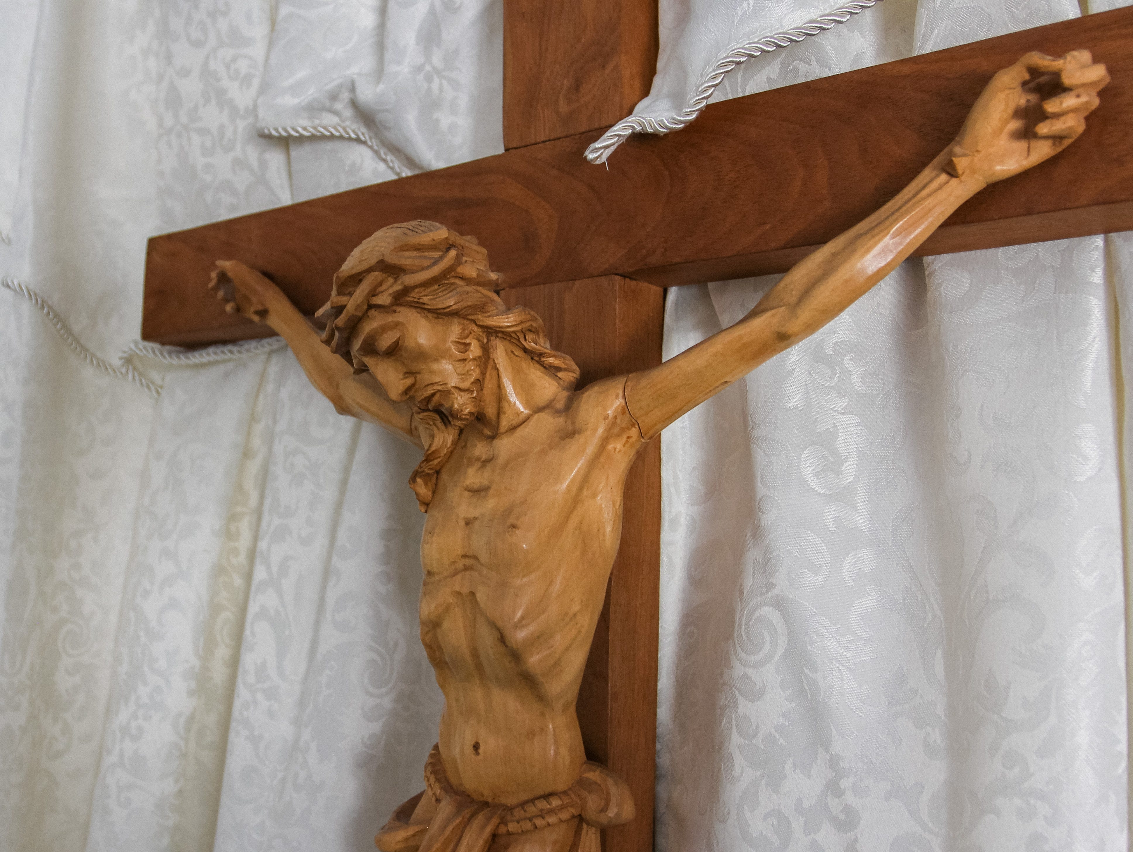 A cross that was thought to have been lost in a fire that destroyed St. Joseph  Catholic Church in Phoenix is pictured on May 1, 2019.