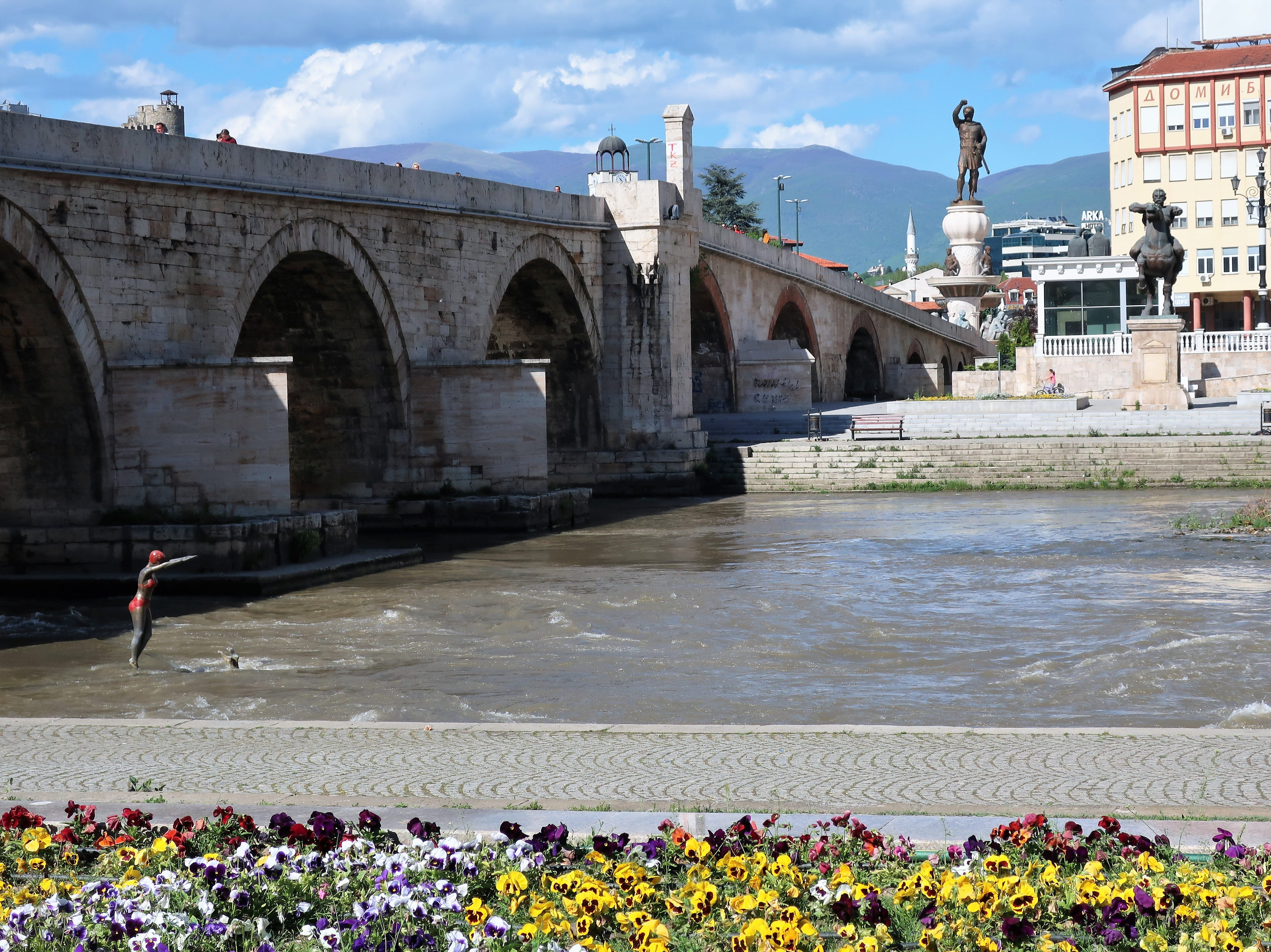The Vardar River bisects the center of downtown Skopje, North Macedonia.