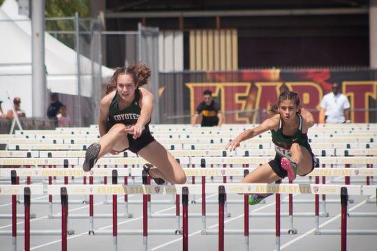 Campo Verde's Lia Kendricks and Kiana Kai run the 300 meter hurdles at the 40th ASU Sun Angel Classic on April 6, 2019.
