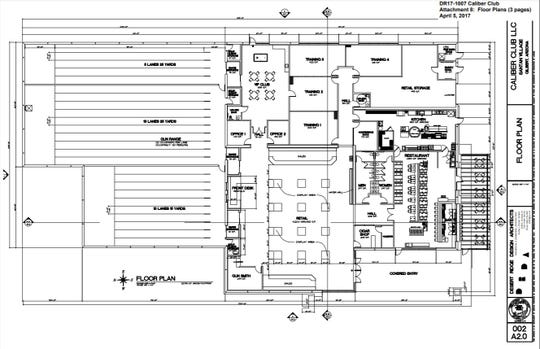 Gun Club 82's floor plan as submitted to Gilbert's Planning Commission in April 2017 by the developer. At the time, the proposed venue was named Caliber Club.