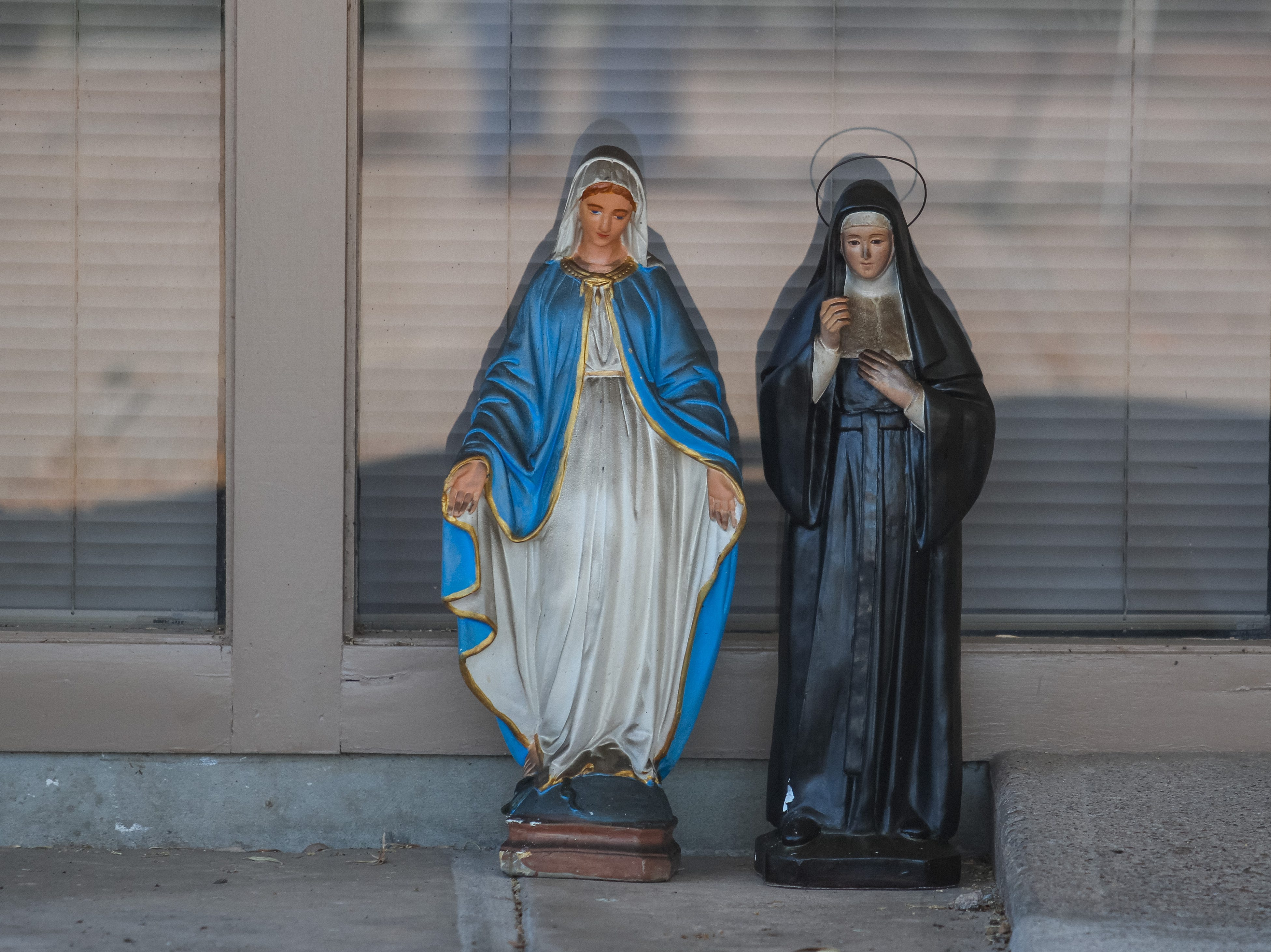 Statues are saved as Phoenix Fire Department works to extinguish St. Joseph Catholic Church in Phoenix after the building caught fire on May 1, 2019.