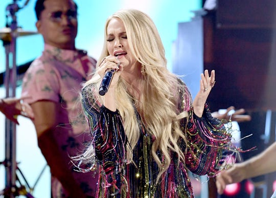 Carrie Underwood performs at the 54th Academy Of Country Music Awards at MGM Grand Garden Arena on April 7, 2019 in Las Vegas, Nevada.