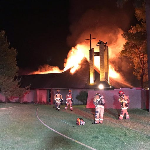 St. Joseph Catholic Church in northeast Phoenix was heavily damaged in a fire May 1, 2019, as the blaze raced through the building.