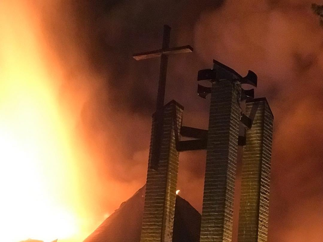 St. Joseph's Catholic Church in northeast Phoenix was heavily damaged in a fire May 1, 2019, as the blaze raced through the building.