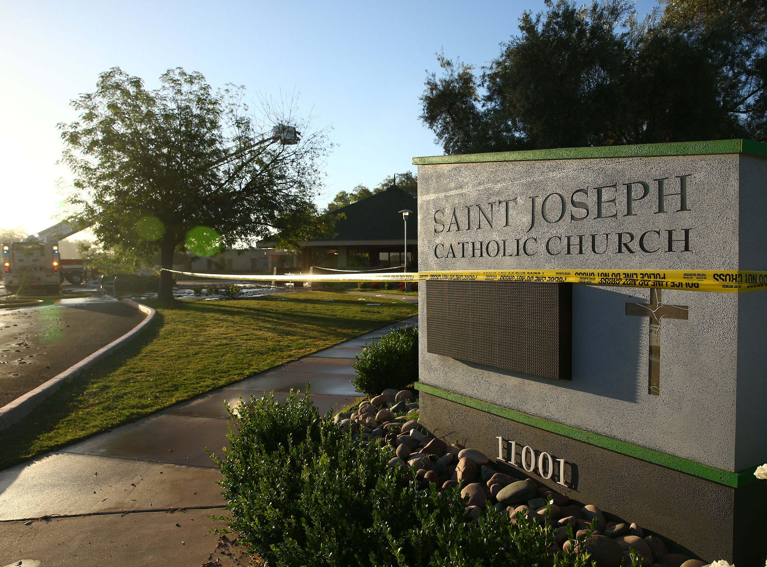Smoke fills the air after a fire engulfed St.  Joseph Catholic Church on May 1, 2019 near 40th Street and Desert Cove Avenue in Phoenix, Ariz.