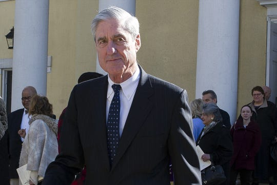 FILE - In this March 24, 2019, file photo, special counsel Robert Mueller departs St. John's Episcopal Church, across from the White House in Washington.  (AP Photo/Cliff Owen)