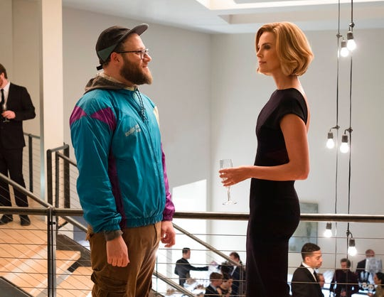 "Seth Rogen, left, and Charlize Theron star in ""Long Shot."" The movie is playing at at Regal West Manchester and Frank Theatres Queensgate Stadium 13."