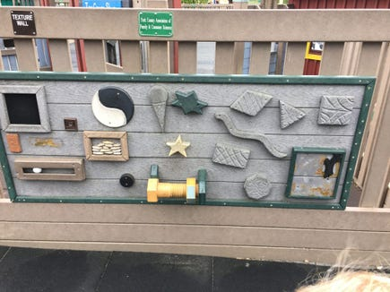 This panel on the playground at Manchester Township's Cousler Park Playground is an example of the geometric lessons built into modern playgrounds.