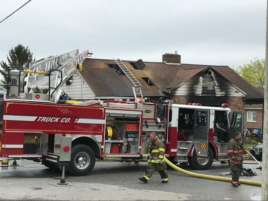 The York County Coroner says a woman died at this home during a fire on Wednesday in West Manchester Township.