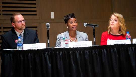 Left to right: Matt Menges, a shareholder in Trinity Law and solicitor for the York County recorder of deeds; Sandra Thompson, owner of the Law Office of Sandra Thompson LLC; and Jonelle Eshbach, a civil practice and criminal defense attorney at Eveler & DeArtment LLP. They are running for one open position on the York County Court of Common Pleas.