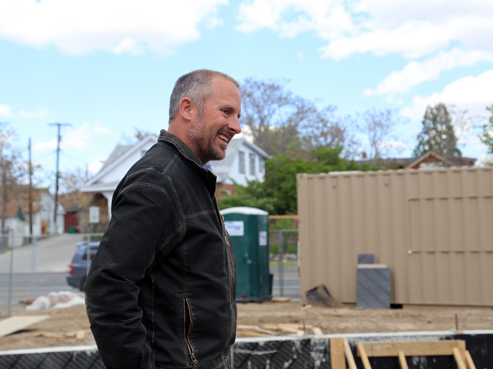 Bryan Raydon of Marmot Properties visits the site for a new shipping container apartment project at Midtown Reno on Holcomb Avenue and Moran Street on April 29, 2019.