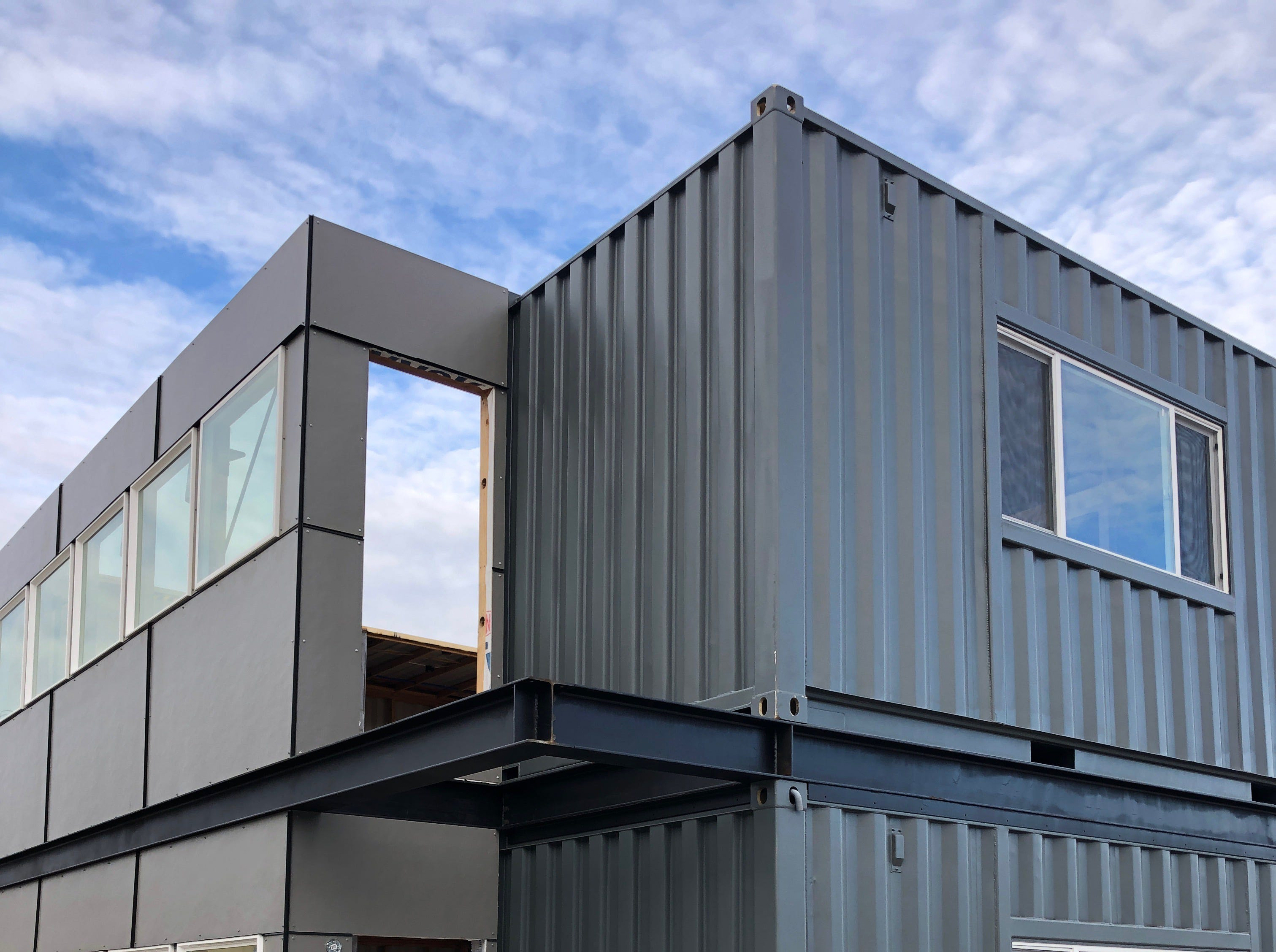 An early-stage photo of Marmot Properties' Midtown storage container-based apartment at the Twisted Metal site in Reno.
