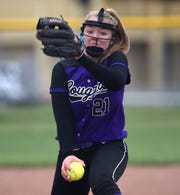 Spanish Springs' Tyra Clary winds up for a pitch against Wooster on April 30, 2019.