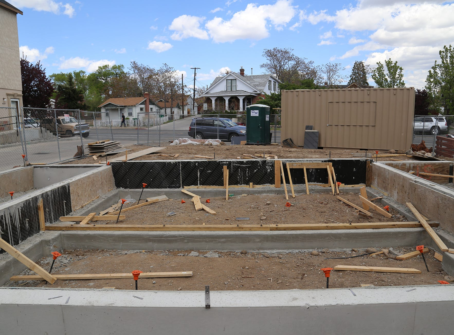 The site for a new shipping container apartment project at Midtown Reno on Holcomb Avenue and Moran Street on April 29, 2019.