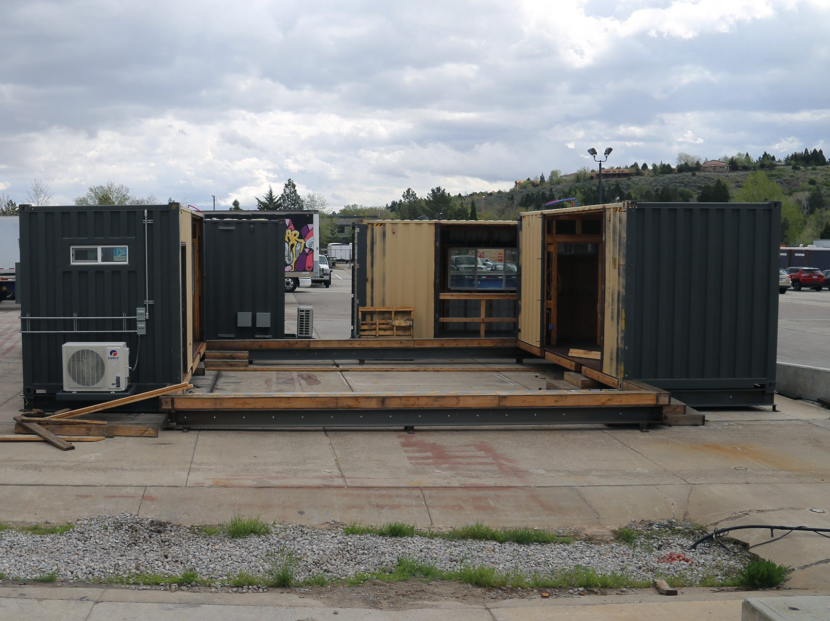 A shipping container-based housing concept is being assembled at Twisted Metal's yard in Reno on April 30, 2019.