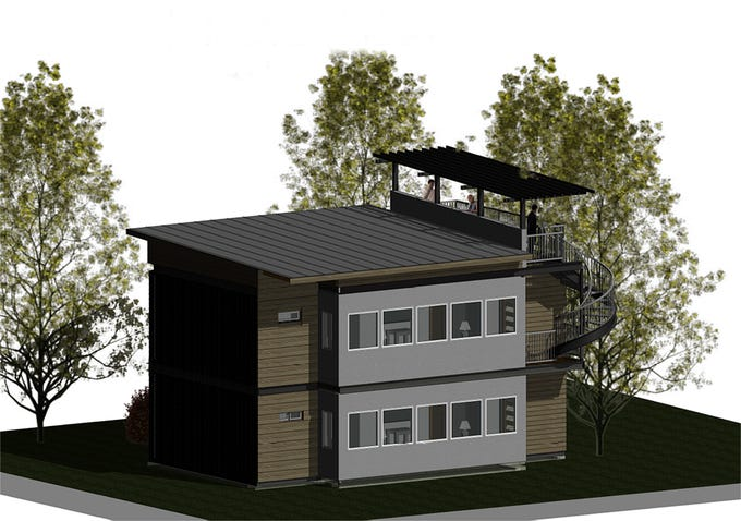 A rendering of the shipping container apartment project by Marmot Properties and Twisted Metal at Reno's Midtown district.