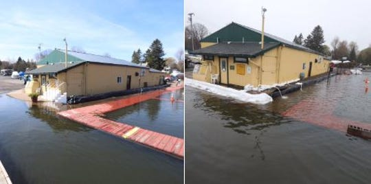 The difference five days make on Lake Ontario: The dock at Arney's Marina on Sodus Bay. The photo at left is from Friday, at right is today (Wednesday).