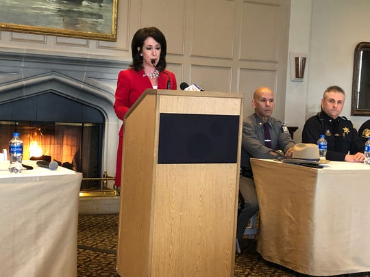 Monroe County Executive Cheryl Dinolfo speaks at an Oak Hill press conference Wednesday.
