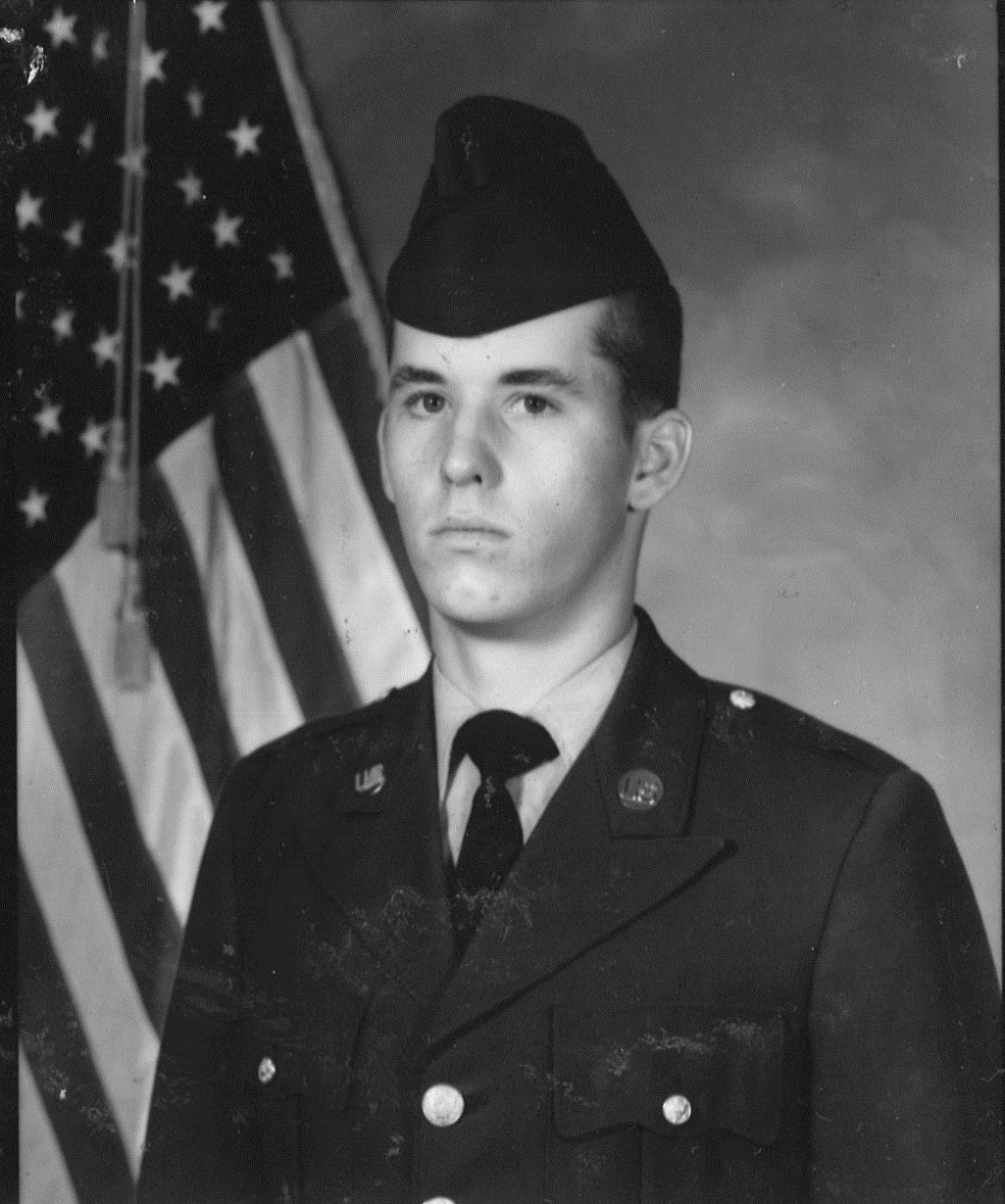 Halverson, photographed during boot camp at Fort Jackson, South Carolina, was 17 when he joined the Army.