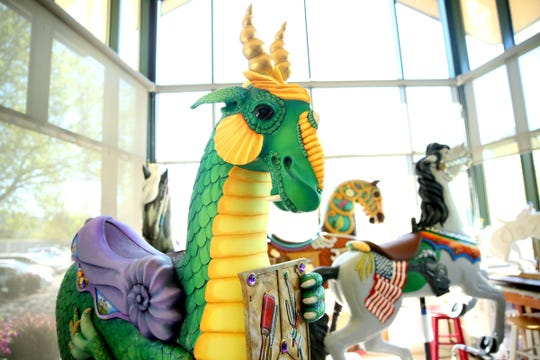 The new dragon figure at the Riverfront Carousel in Salem on April 29, 2019.
