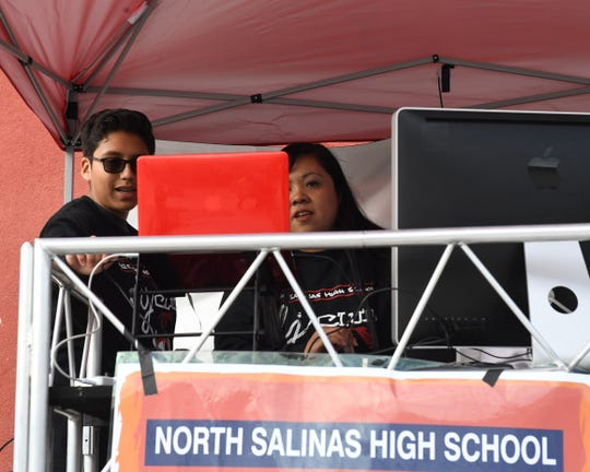 Roco Contreras and Madonna Varela on stage at Salinas Union High School District's first DJ competition on April 30, 2019.