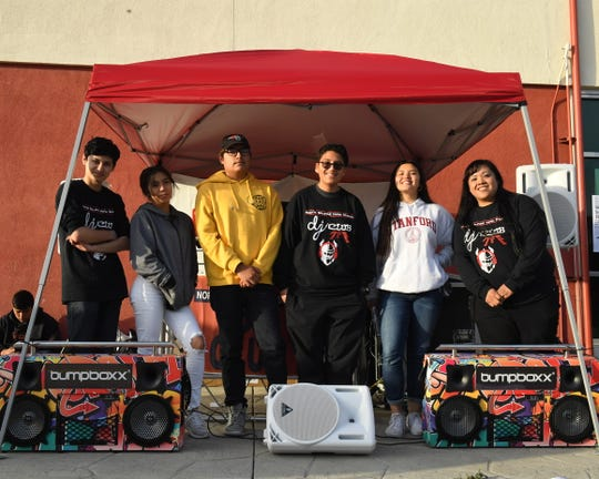 From left to right: Izaiah Savala, Alyssa Mendez, Brian Barajas, Roco Contreras, Anika Breboneria and Madonna Varela pose after the first Salinas Union High School District DJ competition on April 30, 2019.
