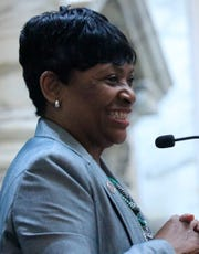 House Speaker Adrienne Jones smiles after being elected the first woman and first black lawmaker to win the office during a special session on Wednesday, May 1, in Annapolis.