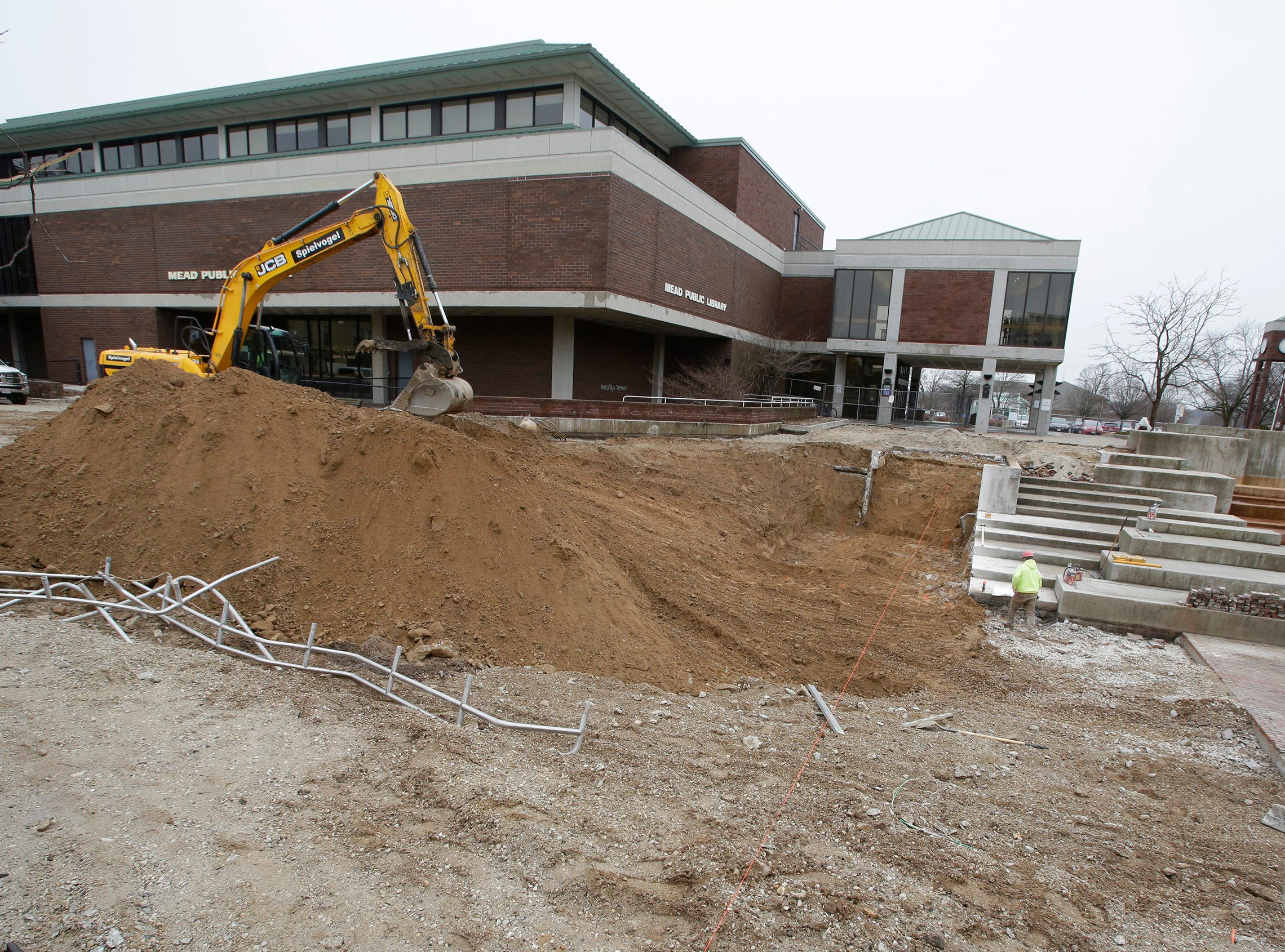 An exterior of the renovation work being performed on the Mead Public Library Plaza, Wednesday, May 1, 2019, in Sheboygan, Wis.