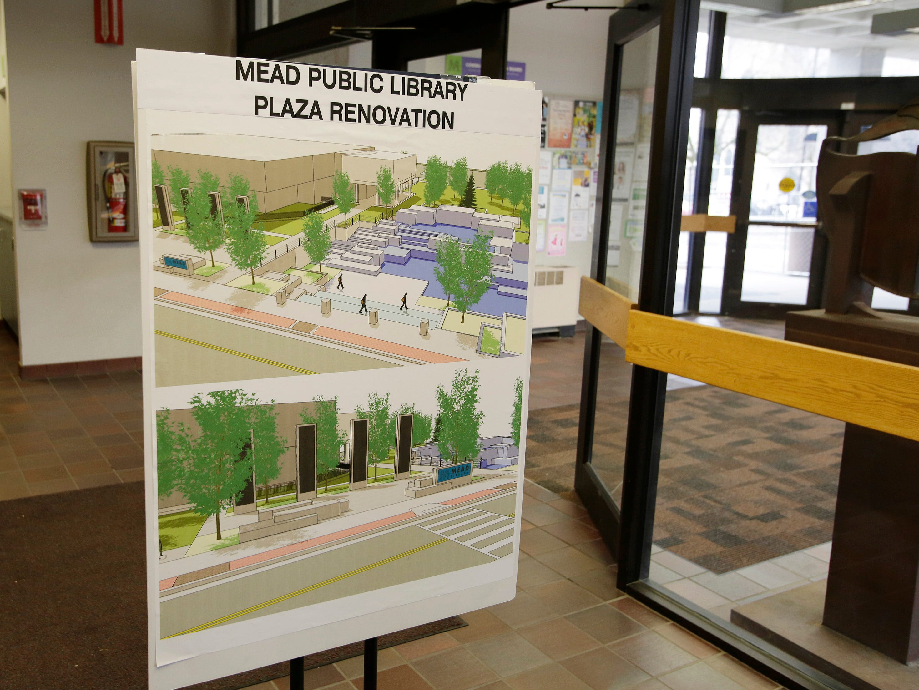 A diagram of the renovation work being performed on the Mead Public Library Plaza, Wednesday, May 1, 2019, in Sheboygan, Wis.