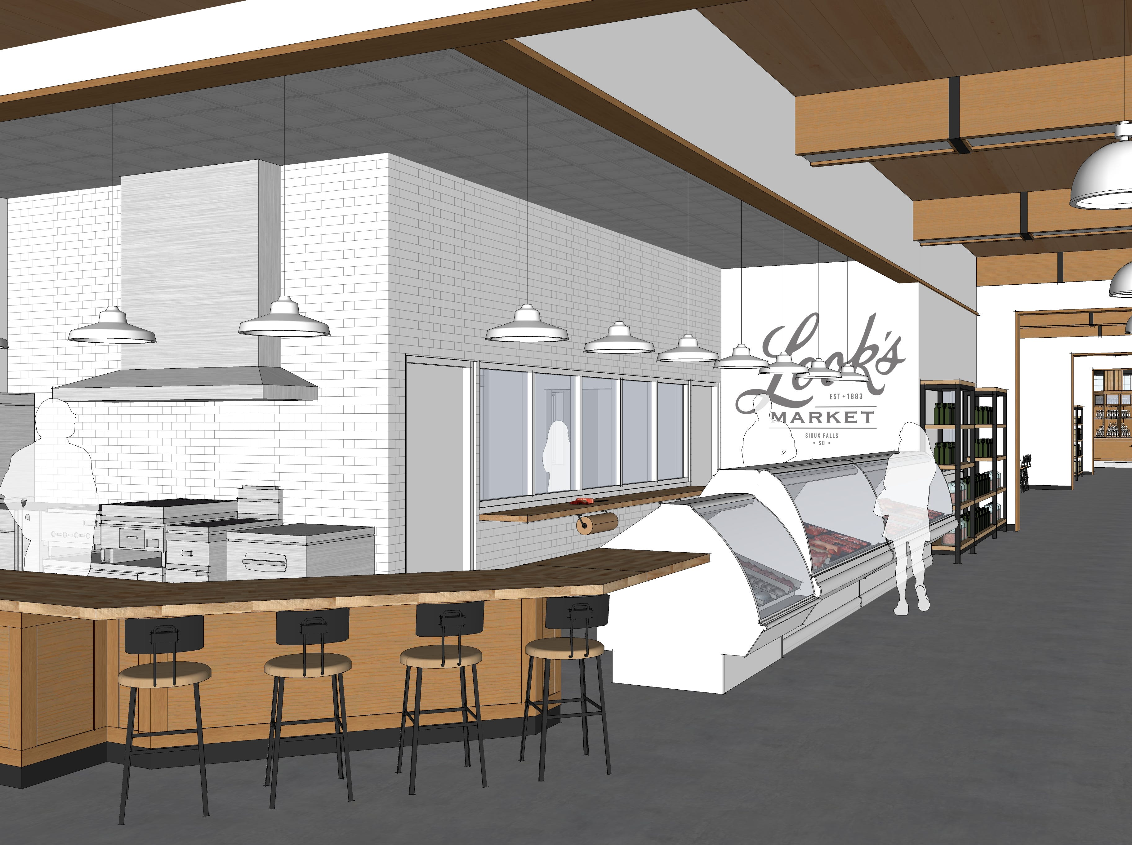 An architectural rendering of the butcher shop in the main entrance of Look's Market's plans for the former C.J. Callaway's in south Sioux Falls.