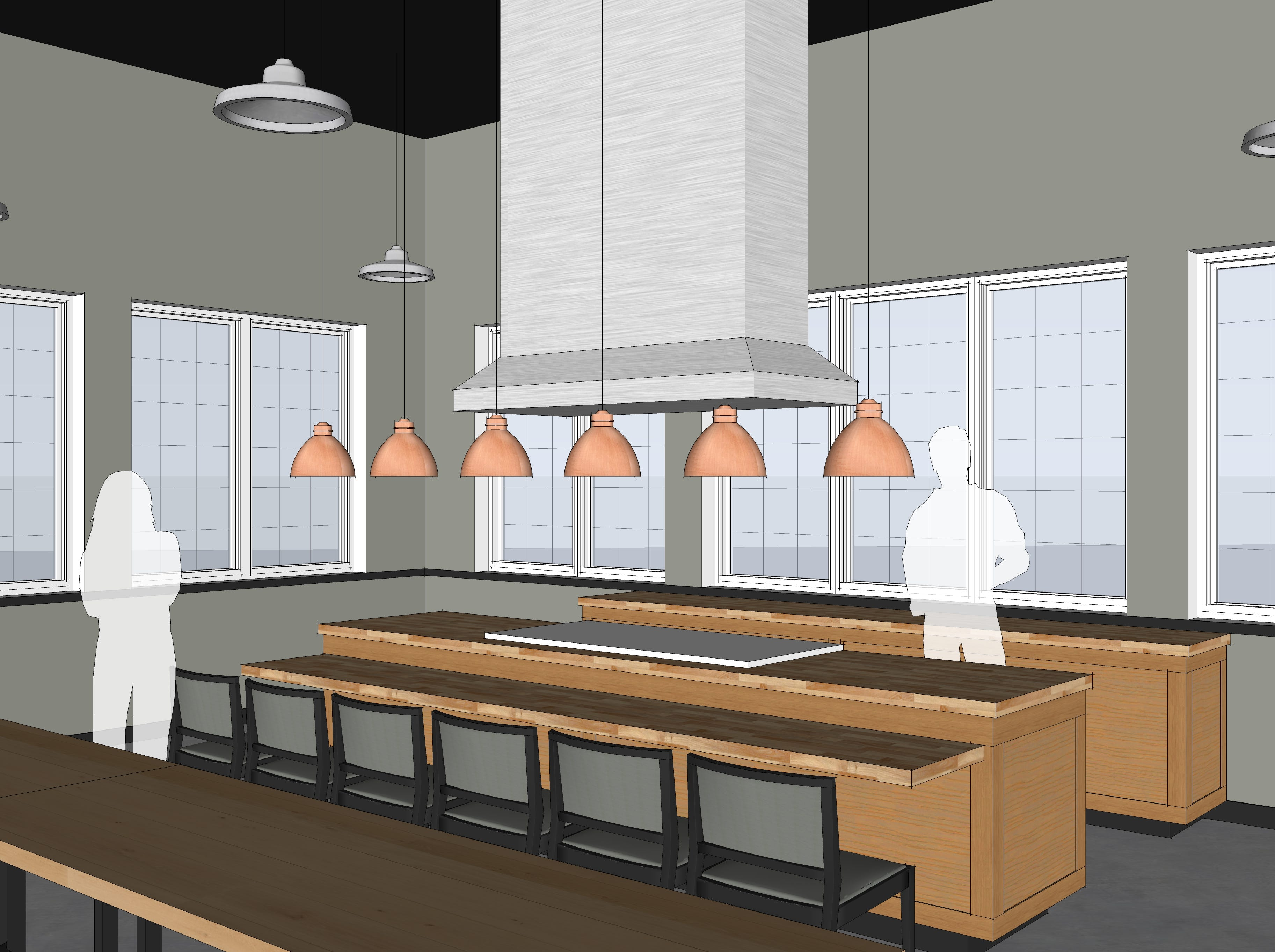 An rendering of the exhibition kitchen, part of Look's Market's plans to transform the former C.J. Callaway's dining and entertainment complex in south Sioux Falls.