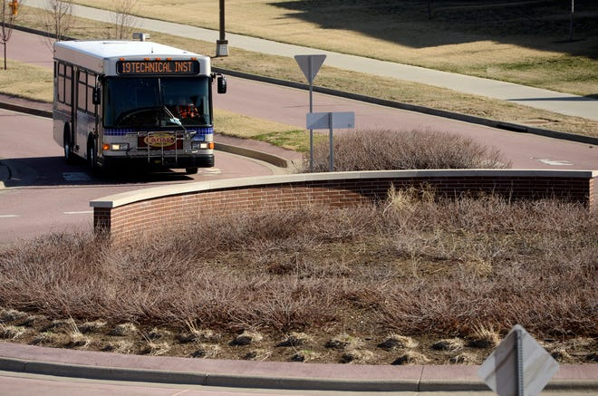 A Sioux Area Metro Bus is shown in this file photo. Sioux Falls officials are considering a major change to the bus route system.