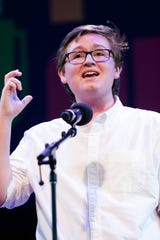 "Gage Gramlick, 2018 South Dakota State champion and Sioux Falls Lincoln High School senior, performs ""Where does the handsome beloved go?"" by Jalal al-Din Rumi at the 2019 Poetry Out Loud competition semifinals Tuesday, April 30 in Washington D.C."