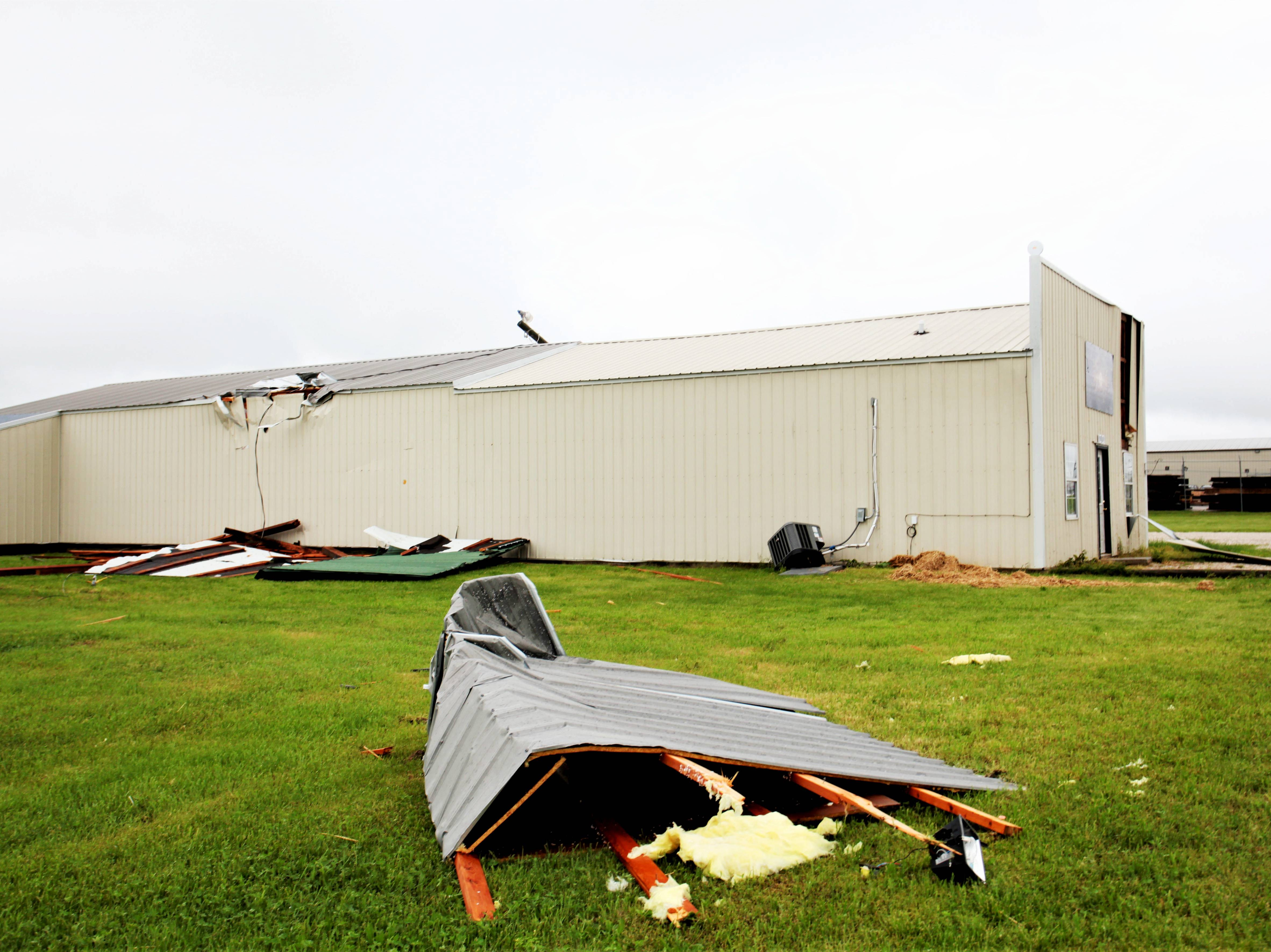 Scenes along Endeavor Drive of storm damage Wednesday, May 1, 2019.