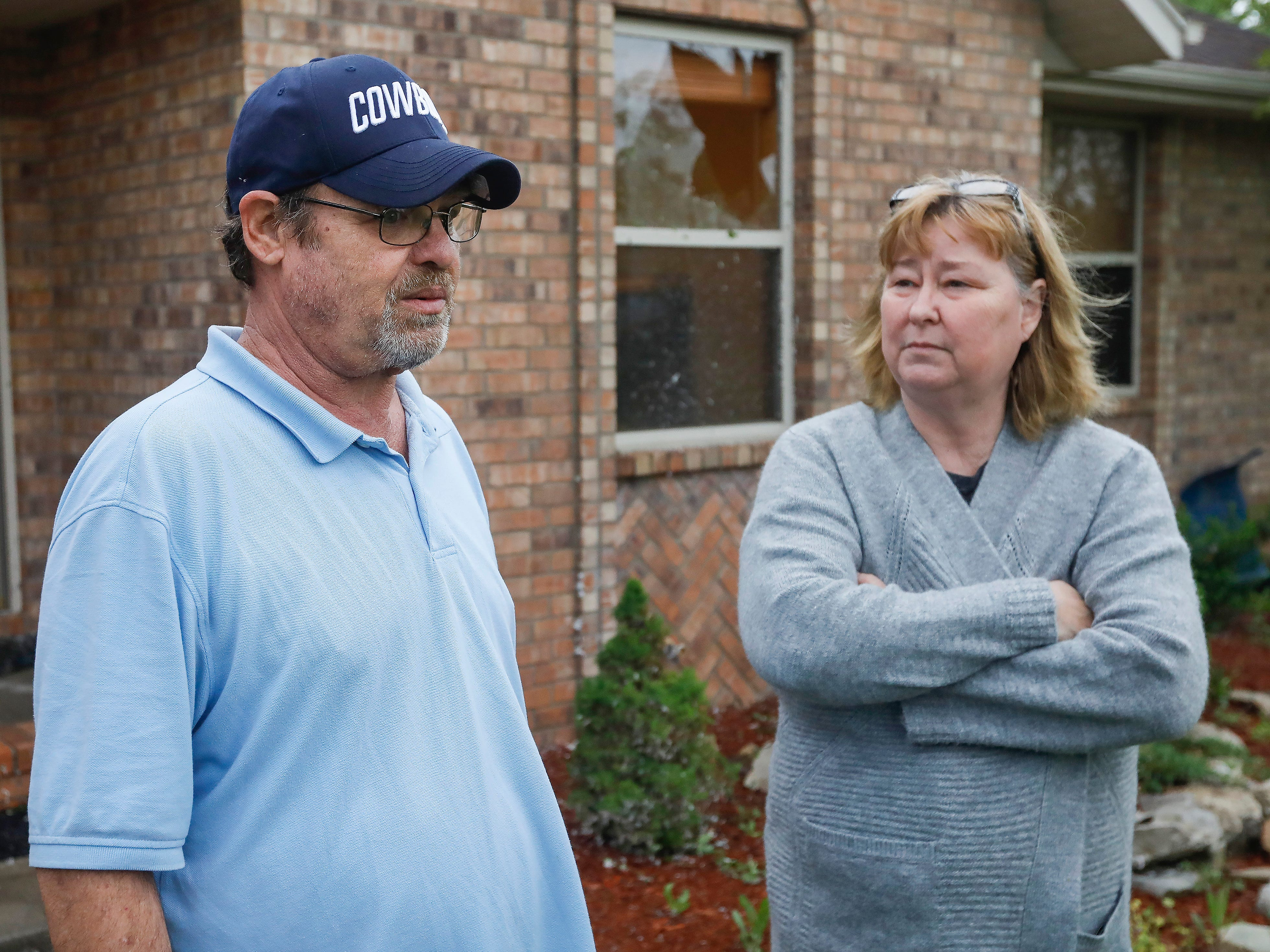 Steve and Kay Byard talk about how they got into the storm shelter in their garage in the Waterford neighborhood during a likely tornado that hit Ozark on Tuesday, April 30, 2019.