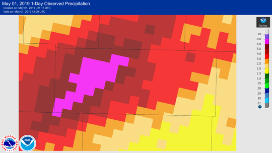 Estimated rainfall during the past 24 hours in Douglas County, Missouri.